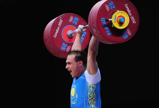 Kazakhstan's Ilya Ilyin showcases his strength at the 94-kilogram weightlifting class.