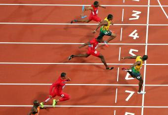 Different angle. Same result. Bolt in 7, Blake in 5, Gatlin in 6, Gay in 4.
