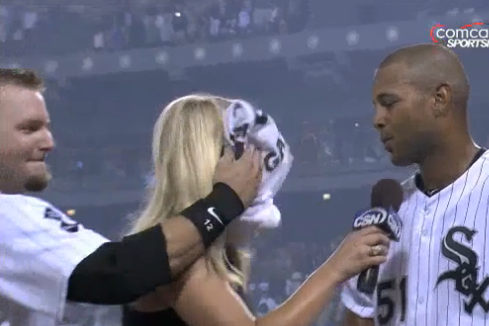 AJ Pierzynski Smacks Sarah Kustok in Face with Pie After White Sox Win