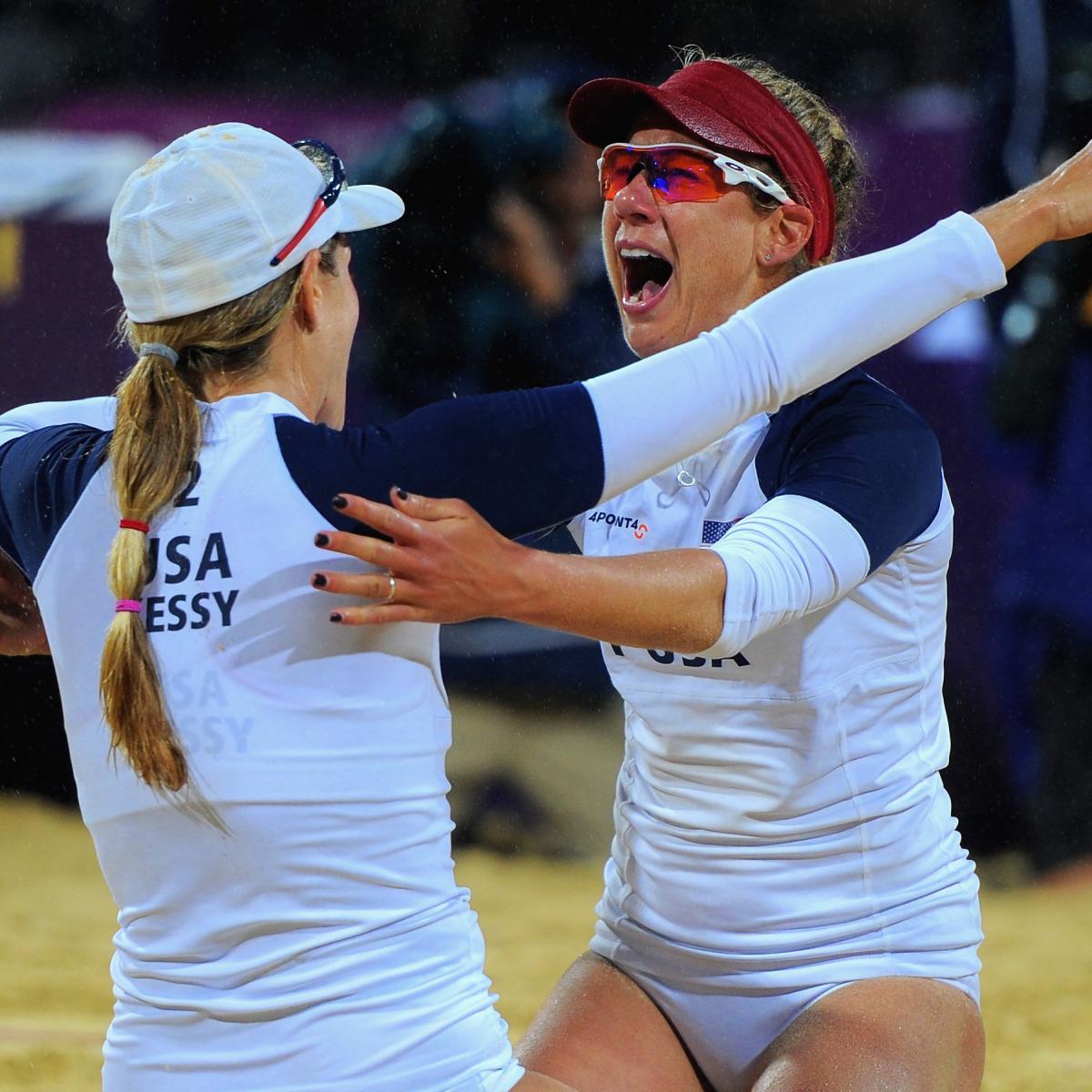 Americans Jennifer Kessy and April Ross celebrate after a