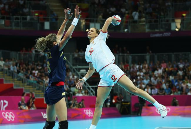 Lefty Katarina Bulatovic of Montenegro torched the Spanish defense for nine goals in the semifinals.