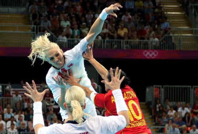 Norway's Linn Sulland scores one of her 10 goals en route to a 26-23 gold medal win over underdog Montenegro.