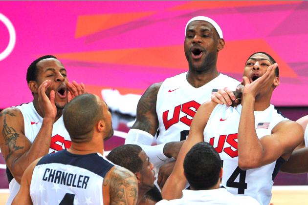 Team USA Celebrates Gold Medal in Men's Basketball