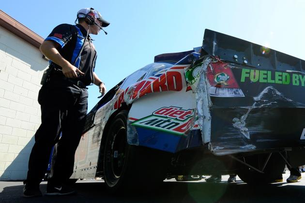 Dale Earnhardt Jr. Wrecks His Winning Car at Michigan and Maybe Chance to Win