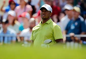 Tiger Woods hit his worst drive of the day at No. 15