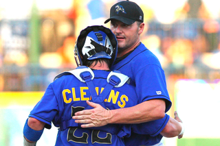 Roger Clemens Pitches over 4 Scoreless Innings with Son Behind Plate