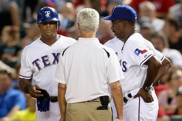 Beltre, Olt, Hamilton Leave Wednesday's Game with Injuries