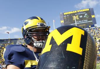 Taylor Lewan deserves a refreshing drink after scoring his first collegiate TD