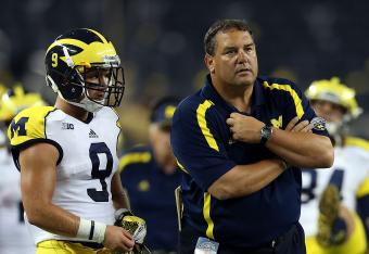 Michigan WR Drew Dileo (left) and coach Brady Hoke