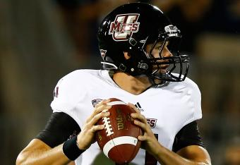 UMass QB Mike Wegzyn completed 10-of-21 passes in the first half (97 yards).