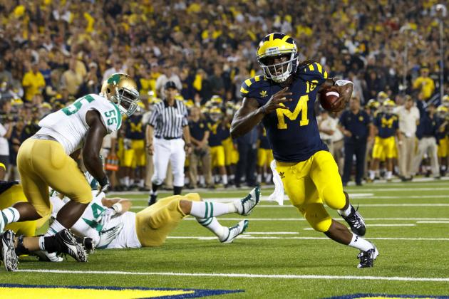 Michigan vs. Notre Dame: How Denard Robinson Has Been Able to Burn Irish Defense