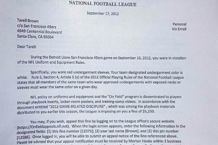 49er Fined for Wearing Sleeves?!?