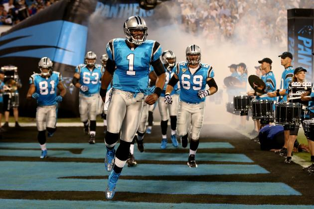 Cam Newton Sports Horrendous Cleats Prior to Kickoff Against Giants