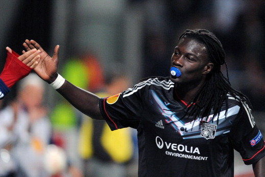 Lyon's Bafetimbi Gomis celebrated goal by sucking a pacifier