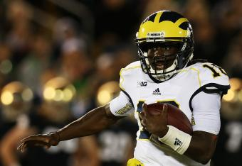 Denard Robinson has thrown four interceptions -- and we're only through one half.