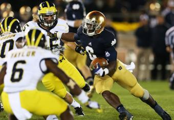 Notre Dame's Theo Riddick has helped sustain drives.