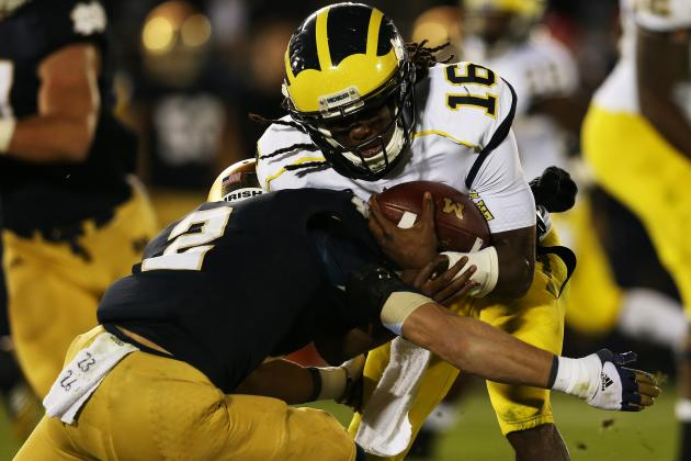 Michigan Football: Notre Dame Highlights Disturbing Trend for Denard Robinson