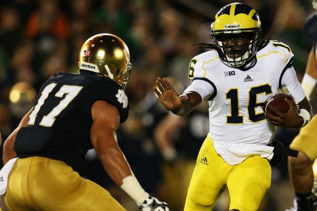 Denard Robinson Puts His Worst Foot Forward in Michigan Loss at Notre Dame