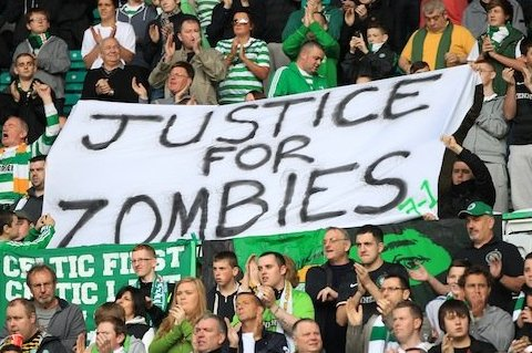 Celtic fans demand 'justice for zombies' after being charged for banner