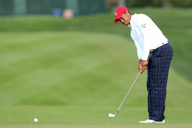 Tiger Woods Rocks the Red, White and Blue for Ryder Cup