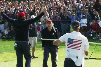 Ryder Cup 2012: Keegan Bradley and Caddy Celebrate Great Shot