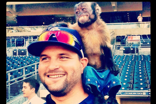 Padres and Dodgers Get Star Monkey Crystal to Throw out First Pitch at Petco
