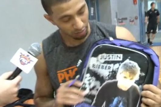 Suns Haze Rookie Kendall Marshall with Justin Bieber Backpack