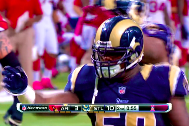 Rams vs. Cardinals: Jo-Lonn Dunbar Does Swim-Move Sack Dance