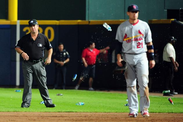 Umpire Hit by Beer Bottle as Situation Exploded During NL Wild Card Game