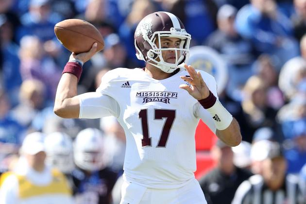 Russell Tosses 2 TDs, Lifts No. 20 Mississippi St.