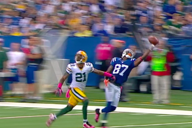 Colts vs. Packers: Reggie Wayne Makes One-Handed Catch of the Day