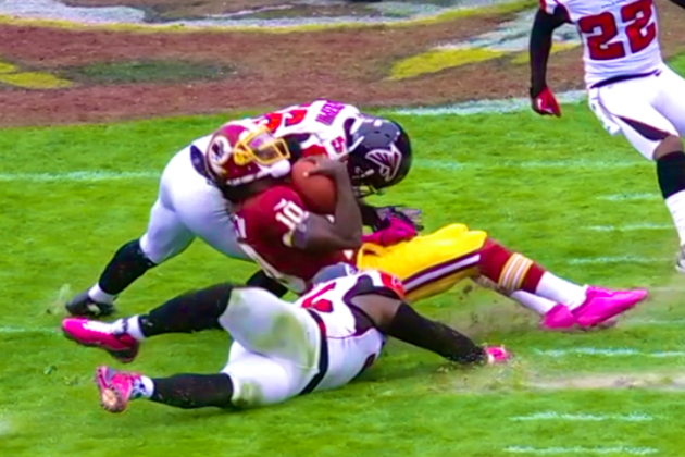 Robert Griffin III Hit: Stitches Required After Sean Weatherspoon Hit