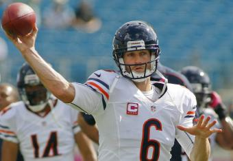 Jay Cutler is struggling again this week,  he's 10 for 20 for a 50 percent completion percentage against the Jaguars.