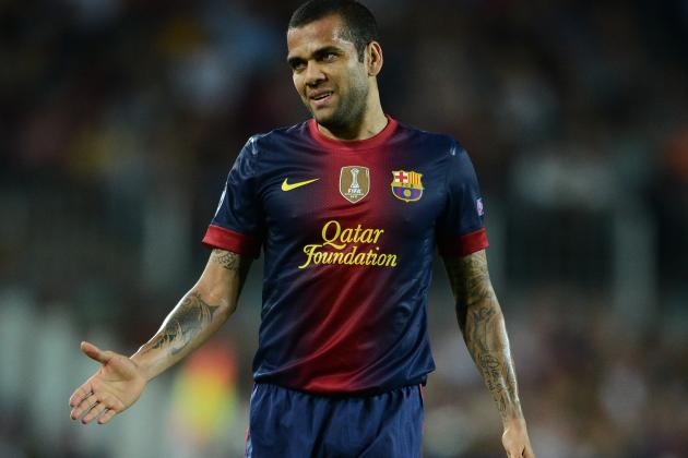 Barcelona's Dani Alves to Miss Three Weeks with Thigh Injury