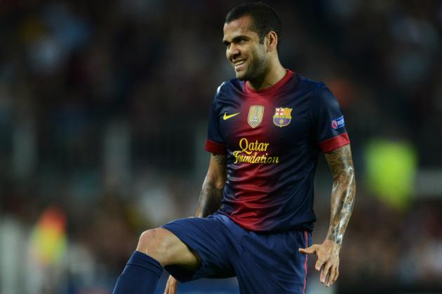 Barcelona Defender Dani Alves out 3 Weeks with Thigh Injury