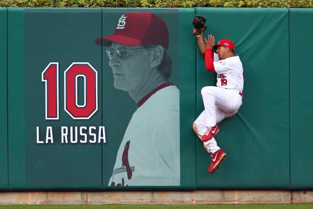 Jon Jay Made a Pretty Incredible Leaping Catch Today