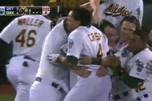 The A's walk off on the Tigers in the ninth