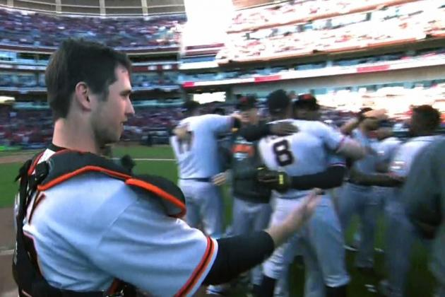 Giants vs. Reds: Everyone Leaves Buster Posey Hanging During Celebration