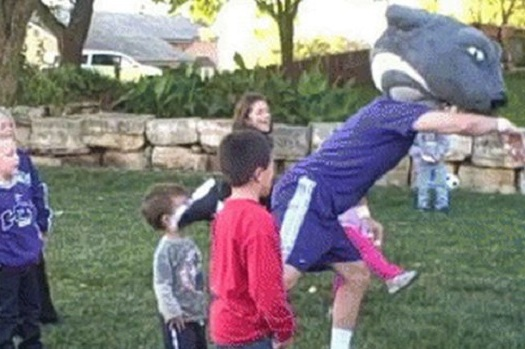 Kansas State Mascot Does a Little Dance, Kicks Kid in Face