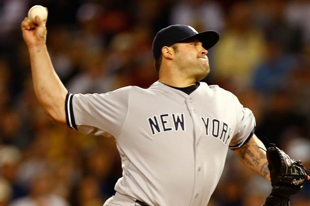 Joba Chamberlain Exits Game After Being Hit in Elbow by Piece of Broken Bat