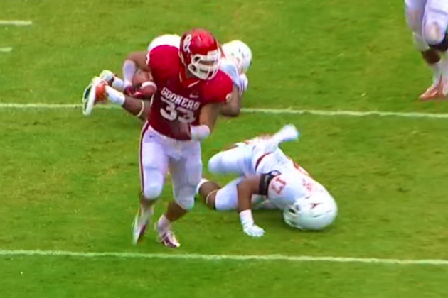 Oklahoma vs. Texas: Trey Millard Hurdles and Stiff-Arms