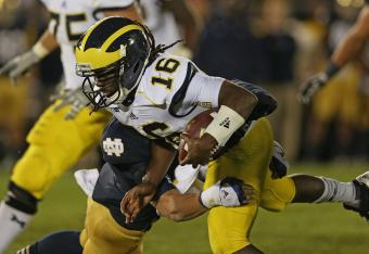 Denard Robinson now has over 10,000 total yards during his career at Michigan.