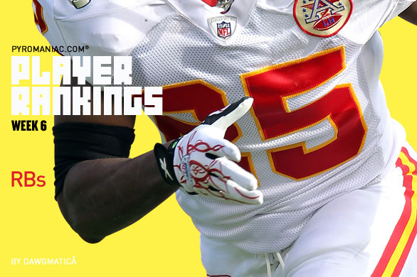 2012 Fantasy Football: Week 6 Running Back Rankings No. 1-50