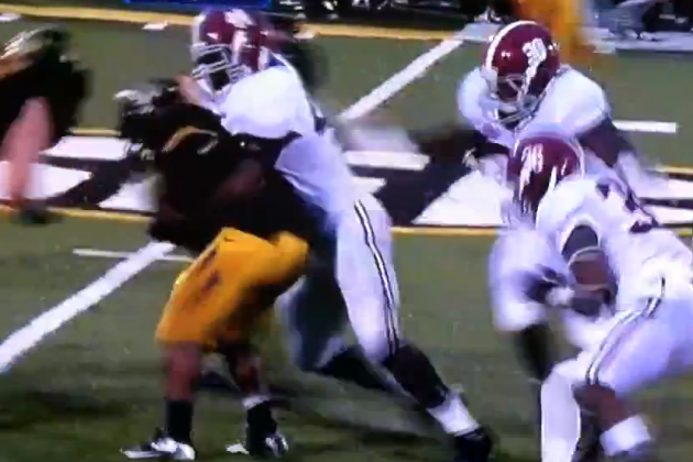 Alabama Lineman Body-Slams Small Missouri Running Back (VIDEO)
