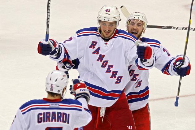 Dan Girardi and Ryan Callahan Celebrating Raul Ibanez's Game-Winning Homer