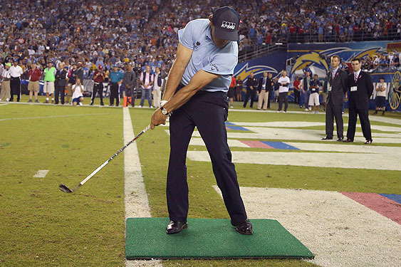 Phil Goes Long in Stadium Shot, but Raises $50,000