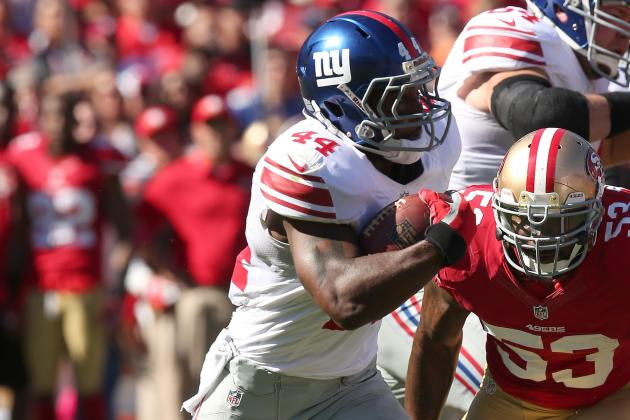 Giants' Ahmad Bradshaw Enjoying the Heavy Workload at Running Back