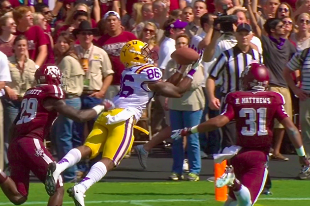 LSU vs. Texas A&M: Kadron Boone Makes TD Catch of the Day