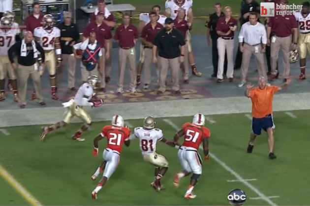 Florida State vs. Miami: Fan Runs on the Field During the Middle of a Play