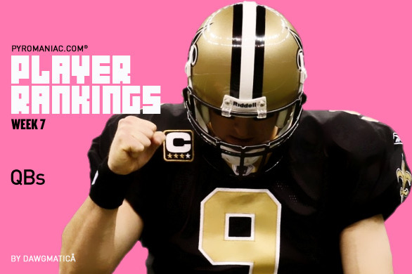 2012 Fantasy Football Week 7: Quarterback Rankings